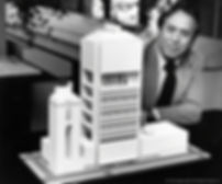 John C. Portman, Jr. with model for Dallas Hotel, Office and Retail Complex, 1978
