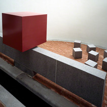 Red Cube on top of Granite T with 7 Cubes, 1986