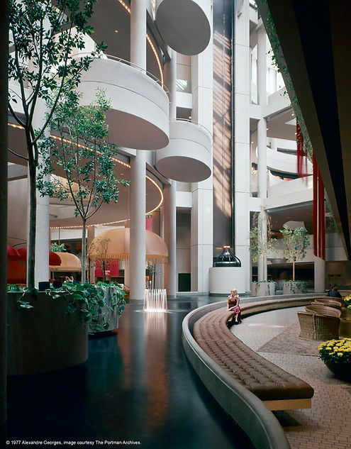 Westin Bonaventure, atrium, 1977.