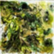 Eclat de jade  50 x 50  technique mixte.