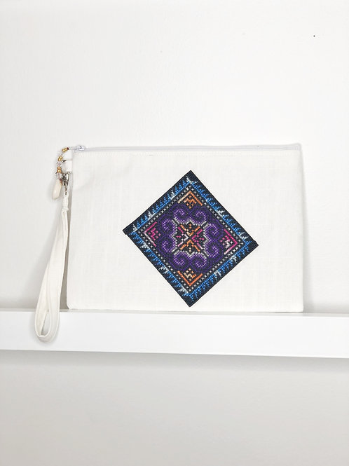 Cross-Stitch Wristlet - White