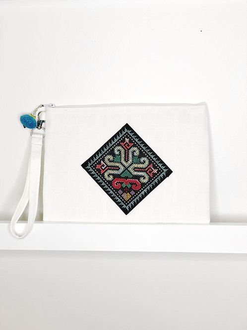 Cross-Stitch Wristlet - White