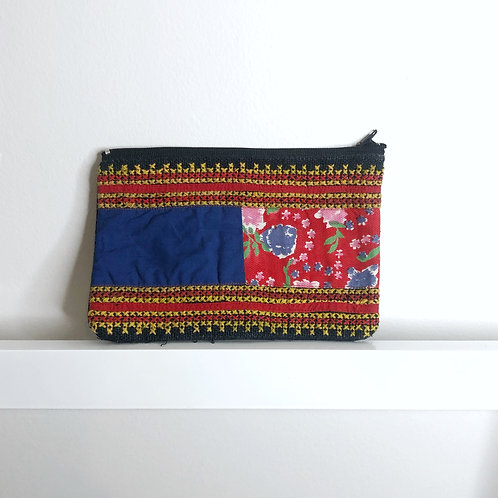 Floral Cross-Stitched Pouch
