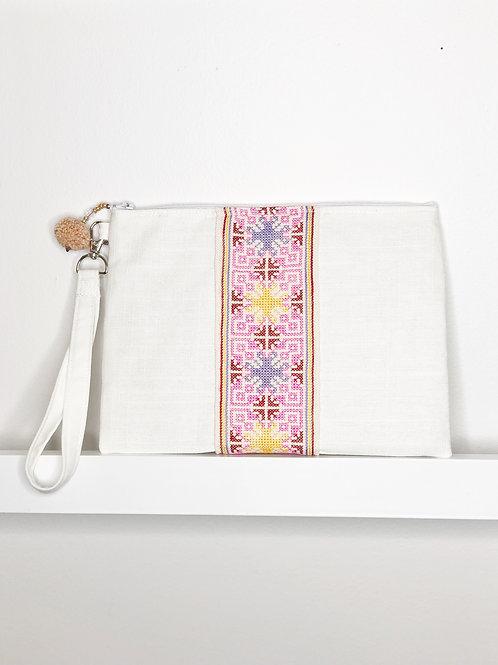 Applique Inspired Wristlet - White