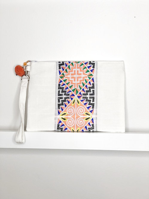 Applique Inspired Wristlet - White