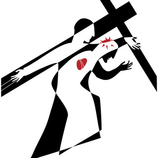 Station 8: Simon of Cyrene helps Jesus carry the cross