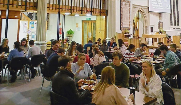St Nics Student Night, people eating food