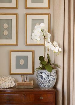 Blue & White Vase w/ Orchid
