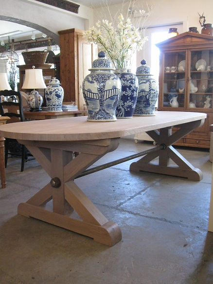 Solid Oak with a steel support  Can be made as a rectangle or an oval   108 l x 40 d x 30 h  Can be made in other sizes and colors   0063  Oak Dining  Table. Custom Tables   British Cottage   Red Bank NJ