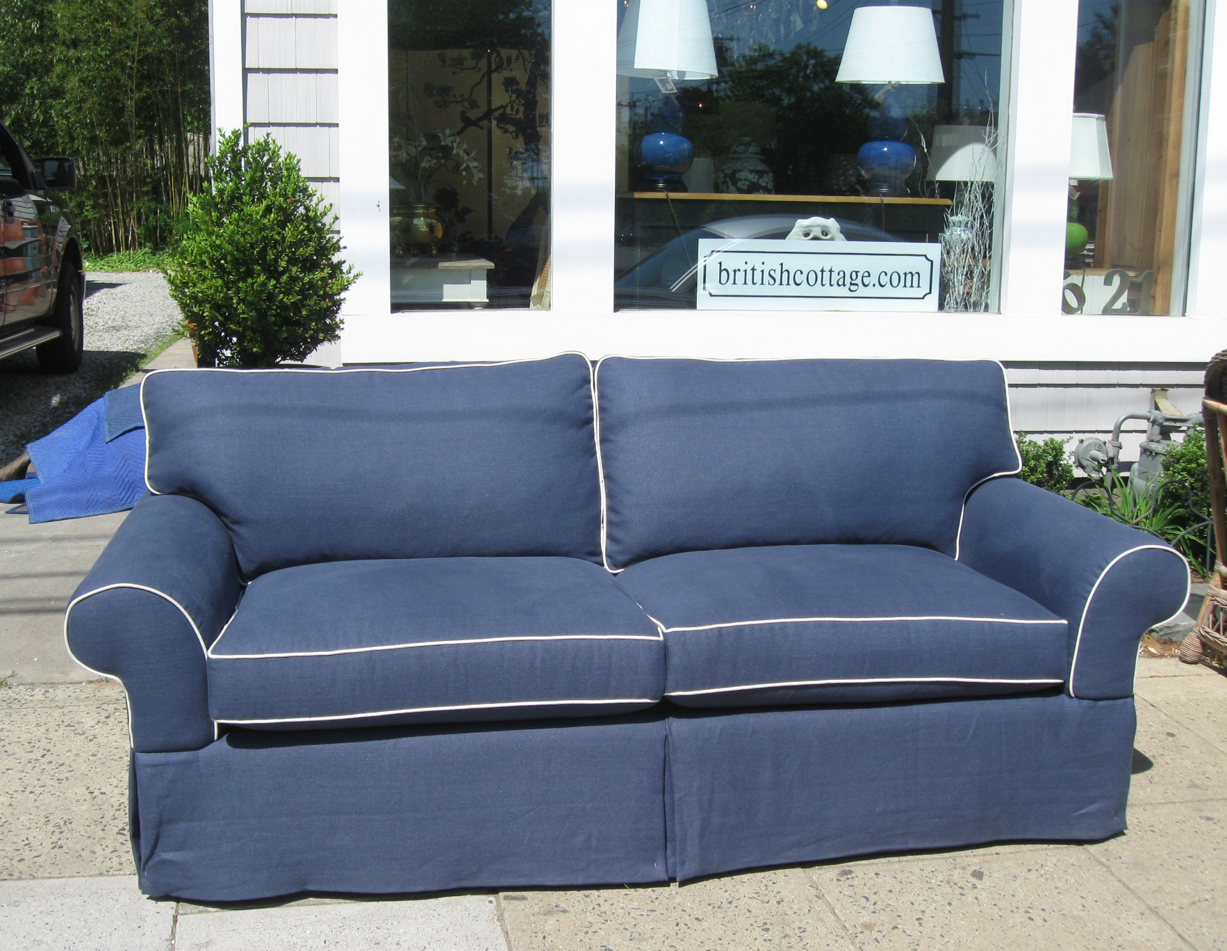 Hickory White Couch in navy linen