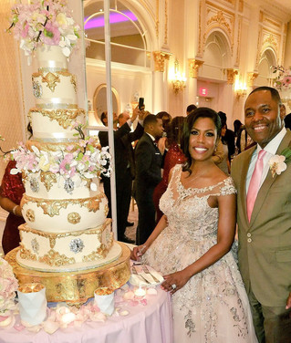 Omarosa Manigault Ivory and Gold Baroque Cherry Blossom Wedding Cake