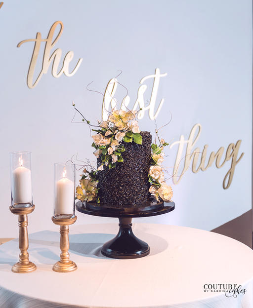 Black Textured Wedding Cake