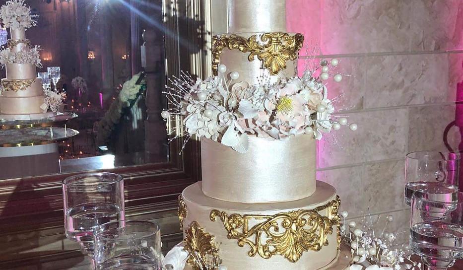 Ivory and Gold Baroque Wedding Cake