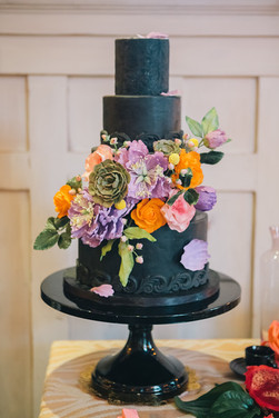 Black Wedding Cake with Sugar Flowers