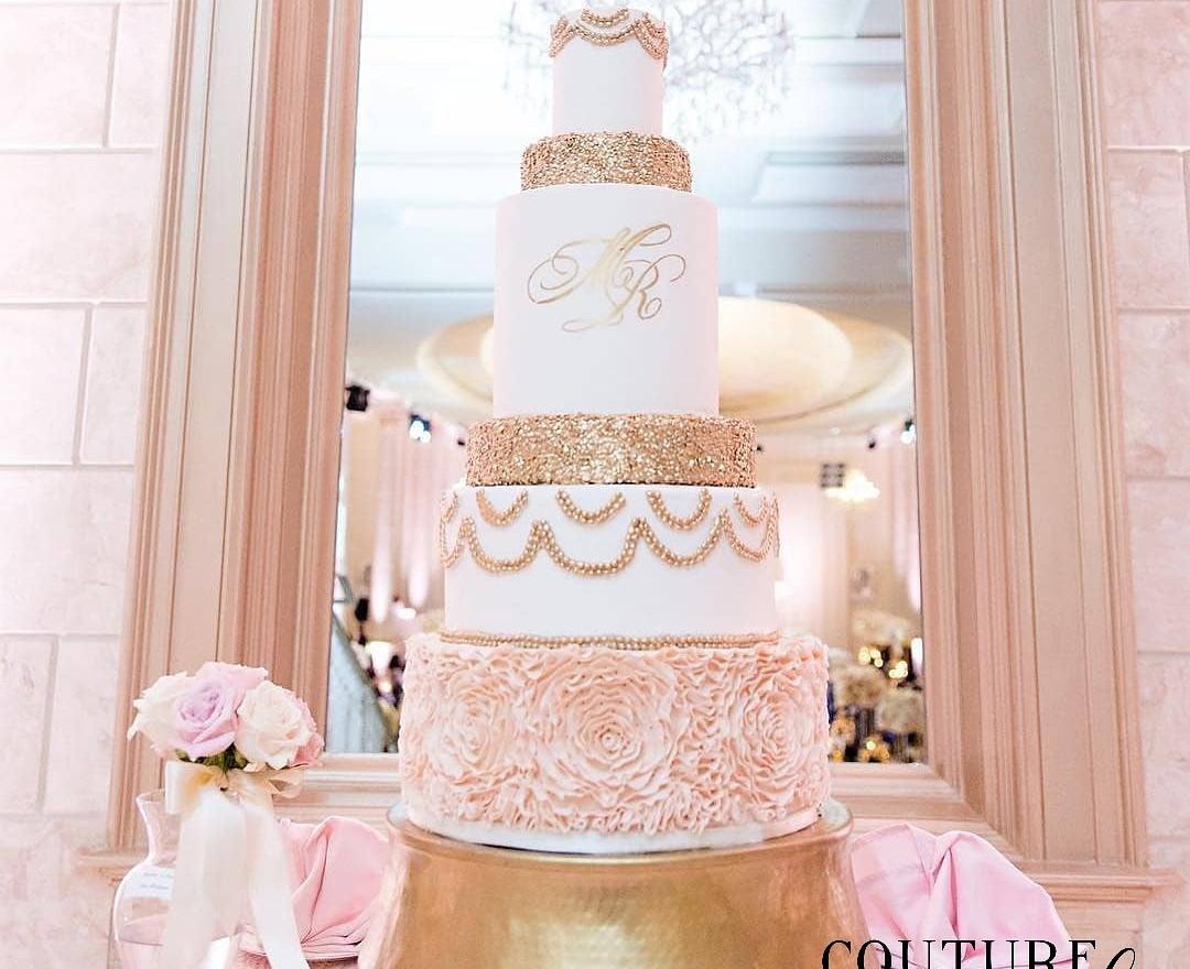 Blush and Gold Ruffle Wedding Cake