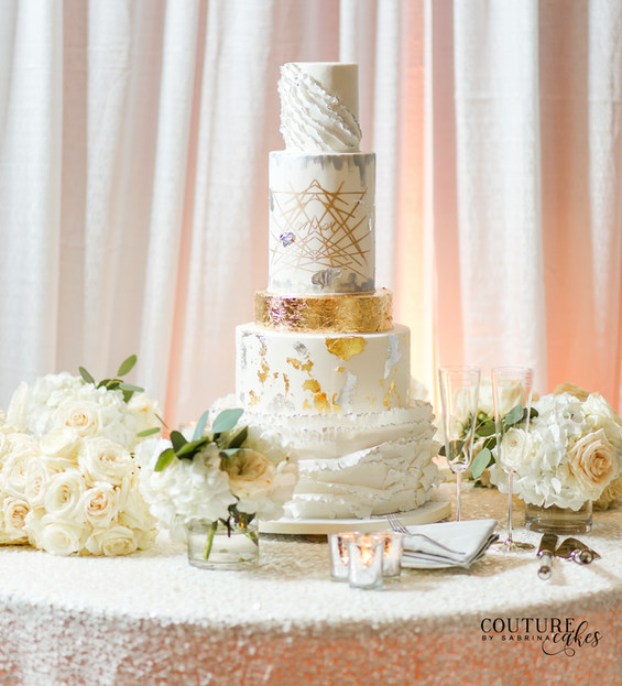 Mixed Metallic Wedding Cake