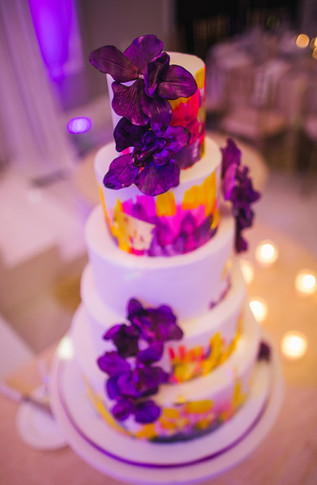 Watercolor Wedding Cake with Sugar Orchids