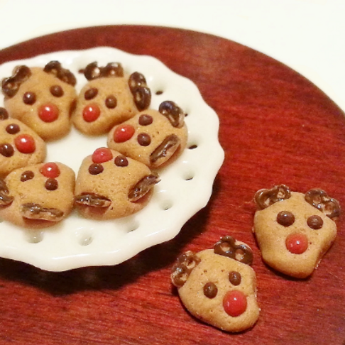 1:12 dollhouse miniature Christmas reindeer cookies