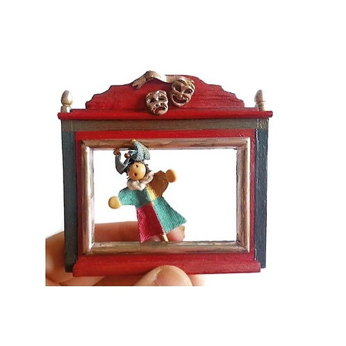 Miniature dollhouse theater and puppets 1:12 scale toy