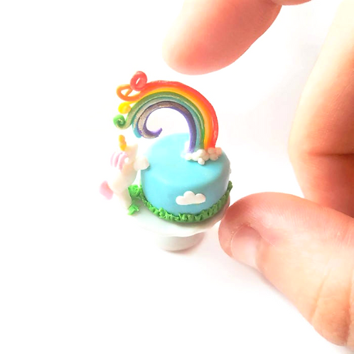 1:12 dollhouse miniature food unicorn and rainbow cake