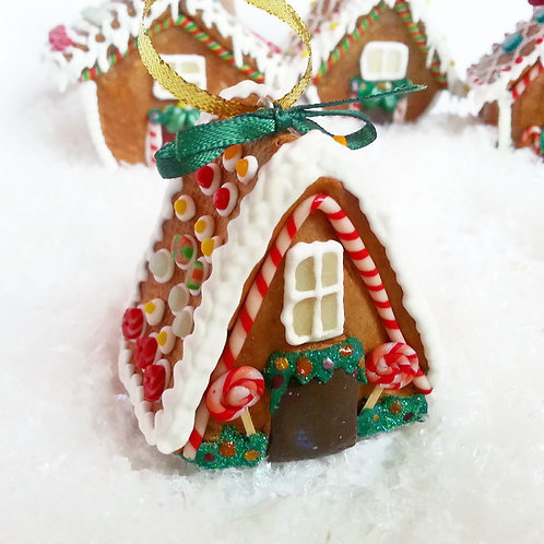 Miniature gingerbread house Christmas ornament