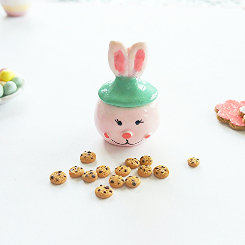 Dollhouse miniature Easter cookie jar