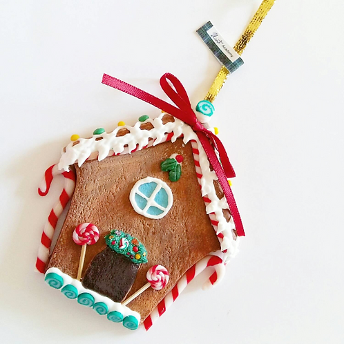 Miniature gingerbread house Christmas tree ornament