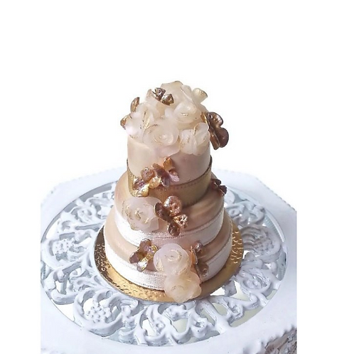 Miniature wedding cake golden scale 1:12