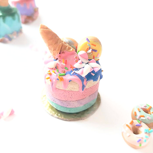 1:12 dollhouse miniature rainbow cake with donuts and waffles