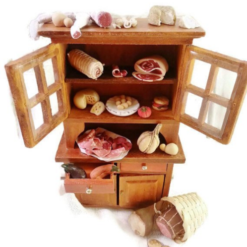 Miniature food salami cheese meat scale 1:12