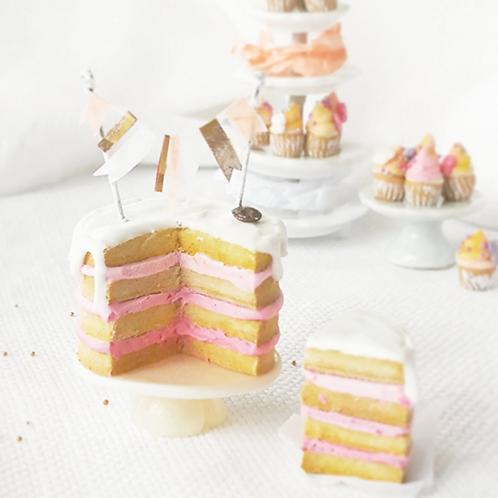 Dollhouse miniature birthday celebration cake scale 1:12