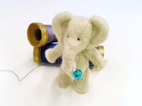 Miniature felted 1:12 dollhouse elephant toy