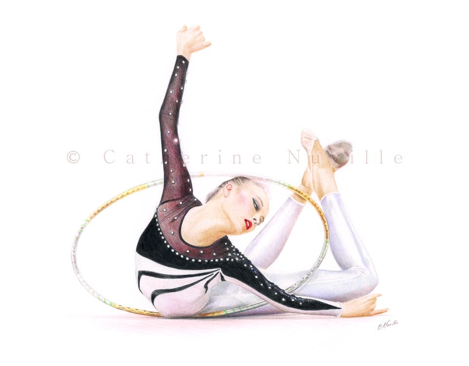 Amina Zaripova drawing, rhythmic gymnast drawing