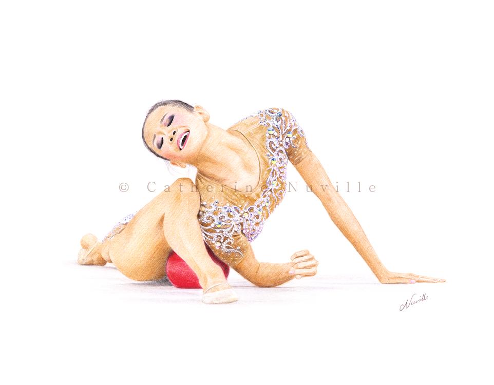 Laura Zeng dessin, Laura Zeng drawing, portrait de gymnaste, dessin de gymnaste, rhythmic gymnastics drawing, rhythmic drawing, gymnast drawing, dessin GRS, Laura Zeng portait, gymnaste avec un ballon, gymnaste au sol, rhythmic gymnast ending pause