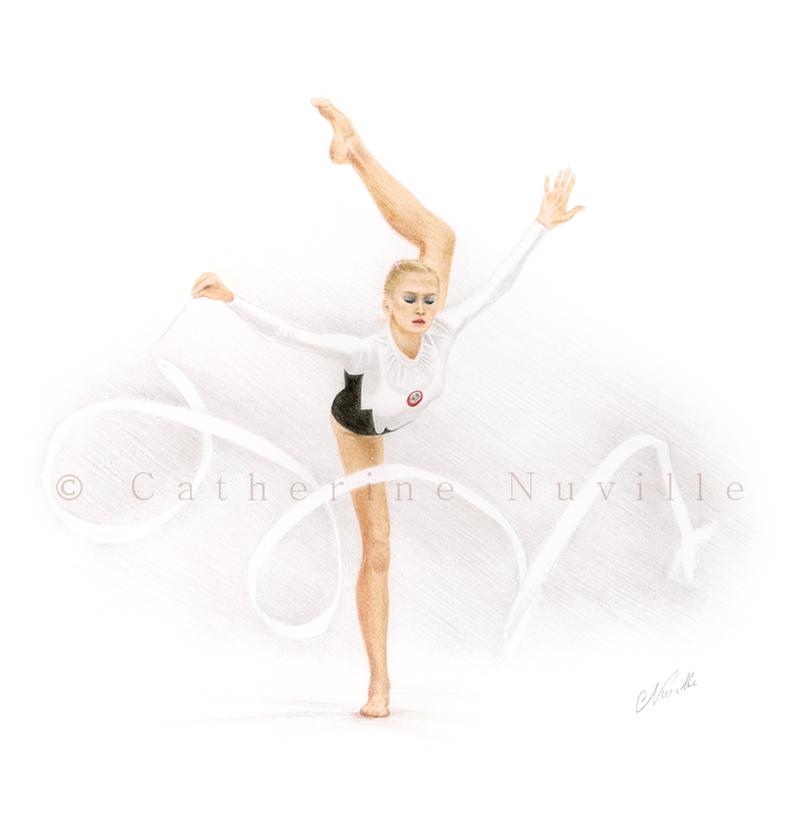 Marina Lobach portrait, gymnast with a white ribbon
