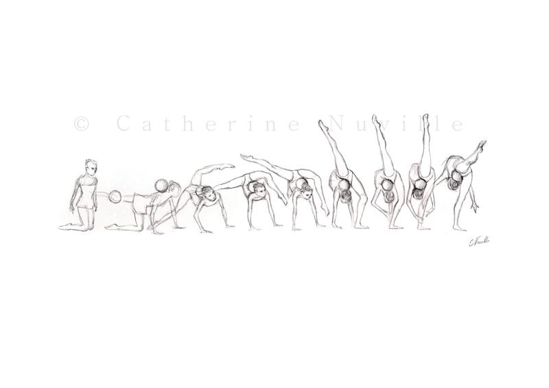 Dessin Catherine Nuville, Lyubomira Vasileva sketch, Lyubomira Vasileva dessin, Lyubomira Vasileva drawing, gymnastique rythmique dessi