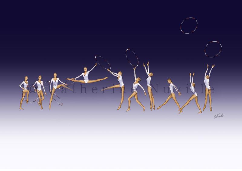 Dessin Catherine Nuville, Marina Lobach hoop 1988, Marina Lobach dessin, Marina Lobach drawing, dessin gymnastique rythmique, rhythmic gymnastics drawing, rhythmic drawing, dessin gymnaste, gymnast drawing, rg sketches, rg art, rhythmic sketches, croquis gymnastique, croquis mouvement, gymnaste au cerceau, rhythmic gymnast with hoop, saut décomposé