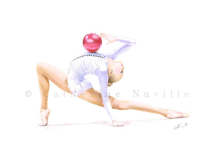 Anastasia Mulmina, Mulmina ball, Anastasia Mulmina drawing, gymnast with a ball