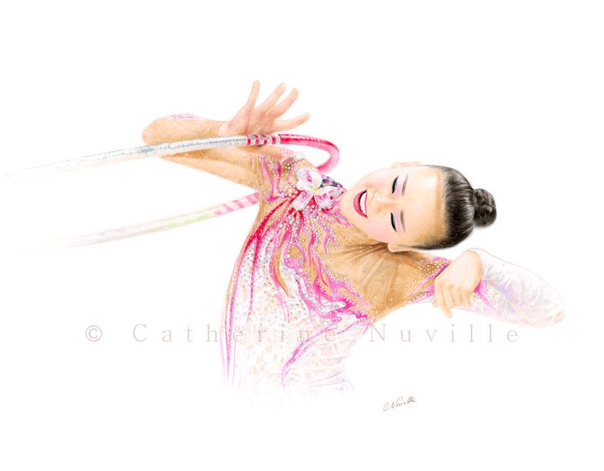 Gymnast drawing, Son Yeon Jae drawing, gymnast with a hoop
