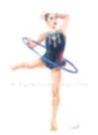 Dessin Salome Pazhava, Salome Pazhava drawing, dessin gymnastique rythmique, dessin de gymnaste, rhythmic gymnastics drawing, rhythmic drawing, gymnast expression, gymnast expressivity, gymnaste au cerceau, gymnast with hoop, dessin au crayon de couleur, pencil color drawing