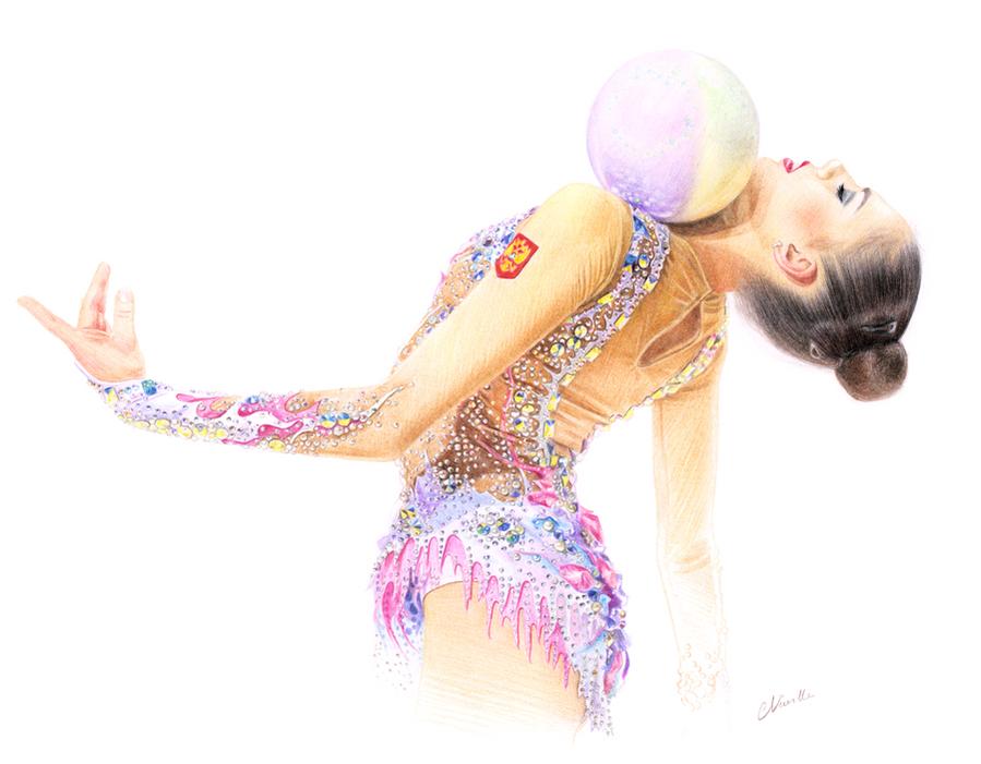 Dessin de gymnastique rythmique, dessin de gymnaste, croquis de gymnastique, croquis de mouvement, dessin au crayon de couleur, gymnaste avec un ballon, gymnaste elegante, Catherine Nuville, rg sketches, rgsketches