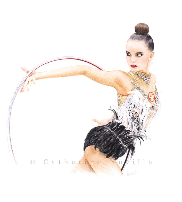 Dina Averina dessin, Dina Averina drawing, portrait de gymnaste, dessin de gymnaste, rhythmic gymnastics drawing, rhythmic drawing, gymnaste visage, gymnaste avec un cerceau, gymnast with a hoop
