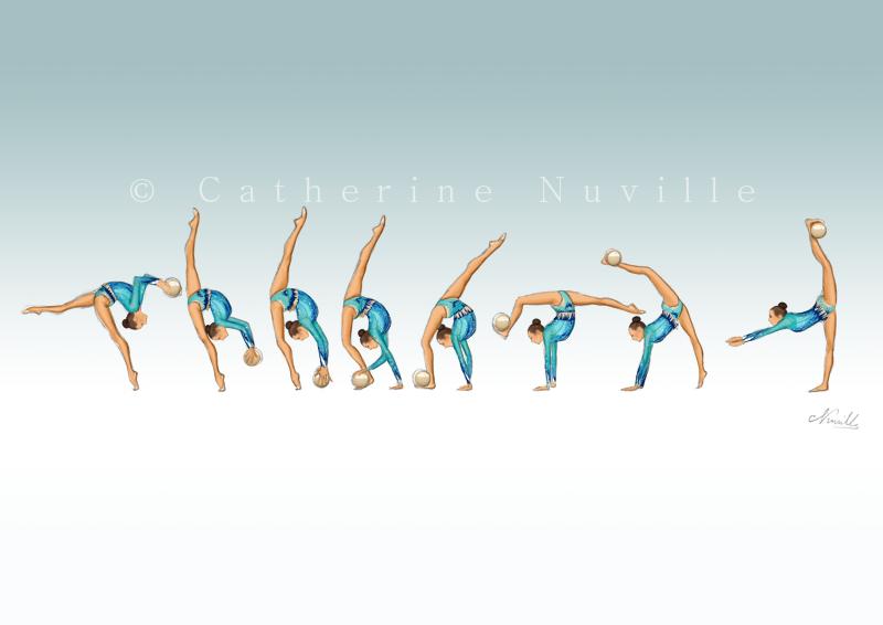 Dessin Catherine Nuville, Katsiaryna Halkinaball 2014, Katsiaryna Halkina dessin, Katsiaryna Halkina drawing, dessin gymnastique rythmique, rhythmic gymnastics drawing, rhythmic drawing, dessin gymnaste, gymnast drawing, rg sketches, rg art, rhythmic sketches, croquis gymnastique, croquis mouvement, gymnaste au ballon, rhythmic gymnast with ball