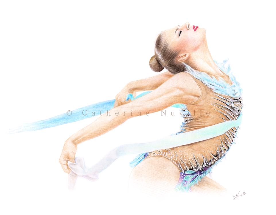 Alexandra Soldatova dessin, Aleksanda Soldatova drawing, Soldatova,gymnast with a ribon