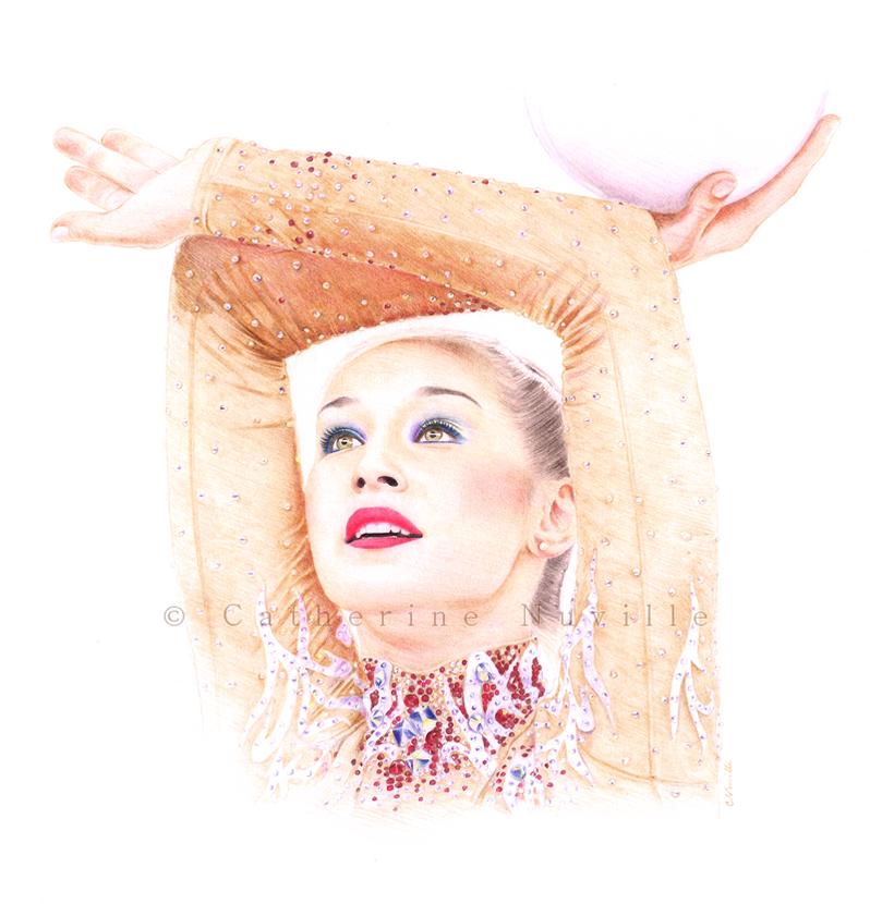 Katsiaryna Halkina dessin, Katsiaryna Halkina drawing, dessin de gymnaste, rhythmic gymnastics drawing, rhythmic drawing, gymnaste visage, gymnaste regard, gymnast face, gymnast look, gymnast expression, gymnast expressivity, beautiful face, dessin au crayon de couleur