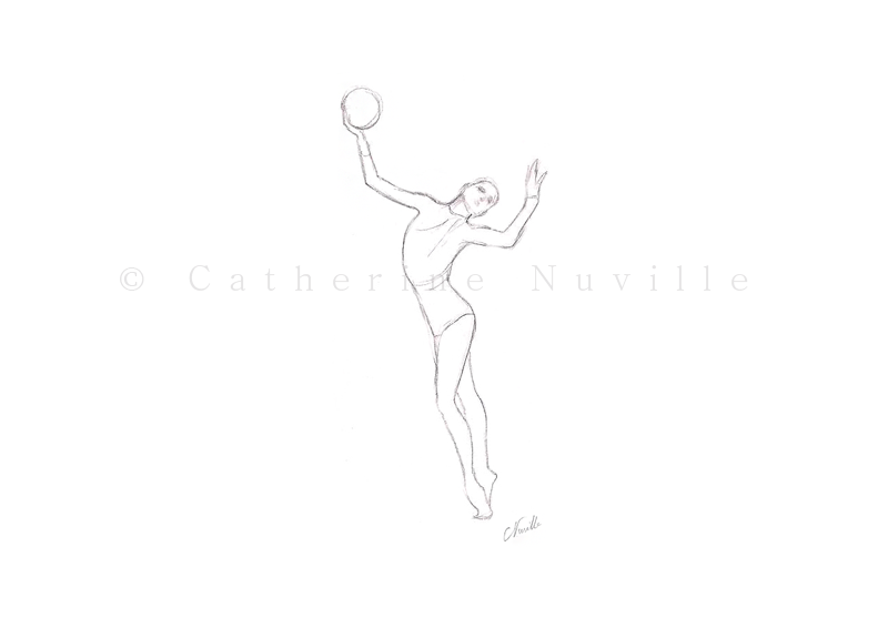 Dessin Catherine Nuville, Galina Shirkina dessin, Galina Shirkina drawing, Galina Shirkina dibujo, gymnastique rythmique dessin, rhythmic gymnastics drawing, rg sketches, rg art