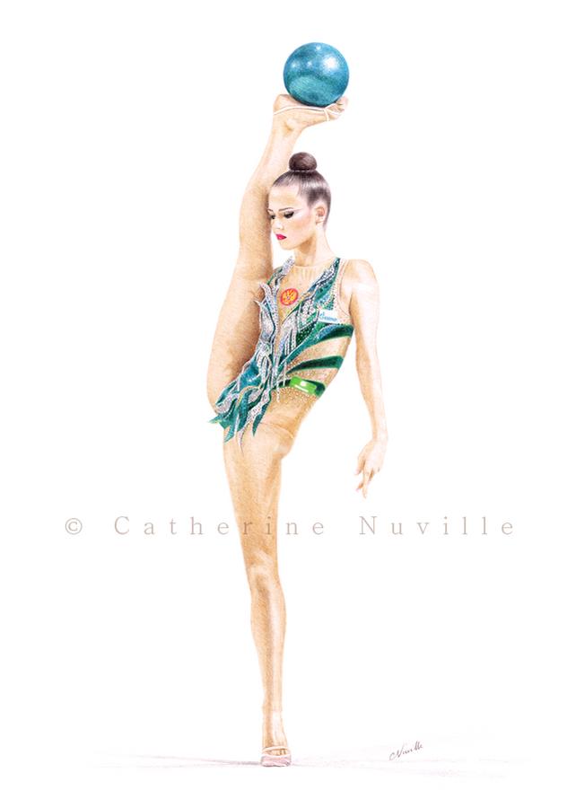dessin de gymnaste, équilibre, ekaterina selezneva dessin