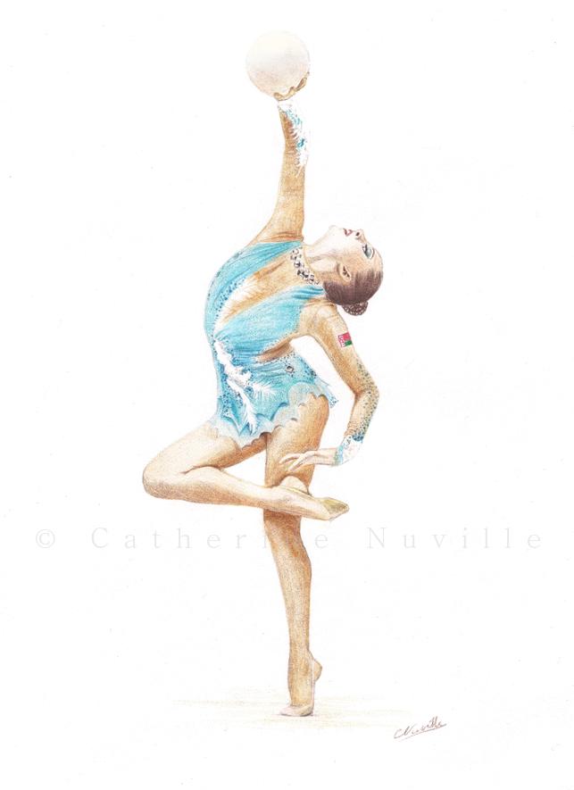 Melitina Staniouta dessin, Melitina Staniouta drawing, portrait de gymnaste, dessin de gymnaste, rhythmic gymnastics drawing, rhythmic drawinggymnaste avec un ballon, gymnast with a ball