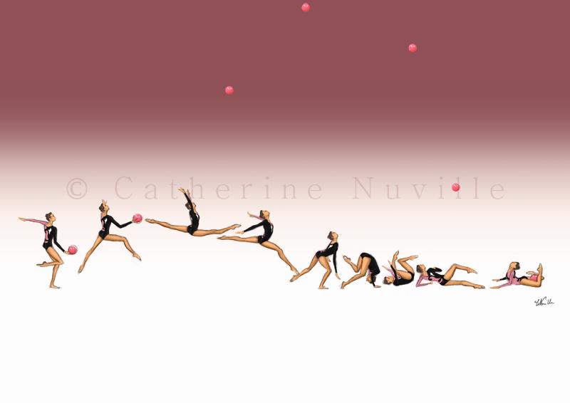 Dessin Catherine Nuville, Carmen Acedo ball 1992, Carmen Acedo dessin, Carmen Acedo drawing, dessin gymnastique rythmique, rhythmic gymnastics drawing, rhythmic drawing, dessin gymnaste, gymnast drawing, rg sketches, rg art, rhythmic sketches, croquis gymnastique, croquis mouvement, gymnaste au ballon, rhythmic gymnast with ball