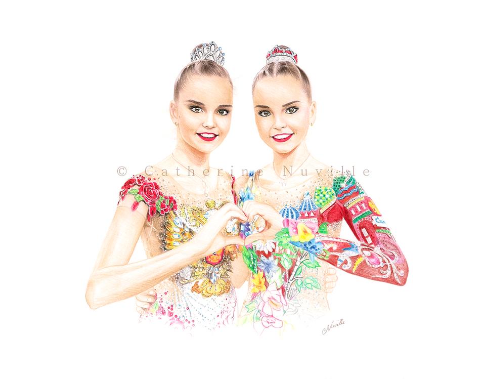 Dina and Arina Averina portrait drawing